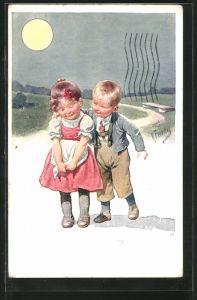 Künstler-AK Karl Feiertag: Kleiner Kavalier legt seinen Arm um ein Mädchen