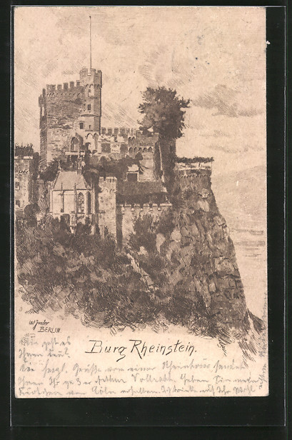 Künstler-AK Carl Jander: Burg Rheinstein