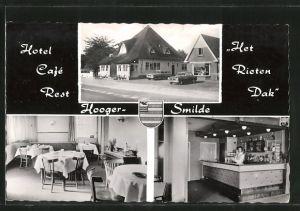AK Hoogersmilde, Hotel-Café-Rest. Het Rieten Dak, Auto Borgward parkt neben Gebäude, Aussen - und Innenansicht