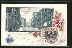 Passepartout-Lithographie Elberfeld, Wallstrasse mit Rathaus, Kaiser Wilhelm II.
