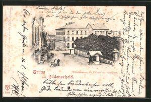 AK Lüdenscheid, Wilhelmstrasse mit Rathaus und Kirchplatz