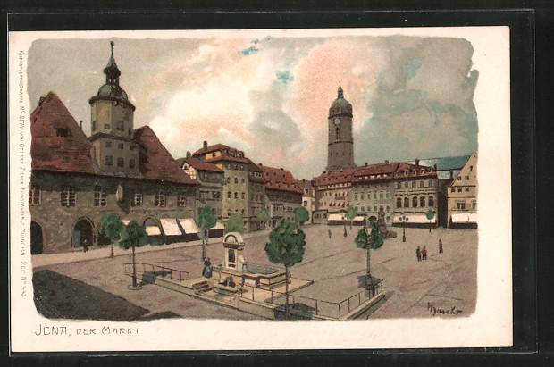 Künstler-Lithographie Alexander Marcks: Jena, Markt mit Geschäften