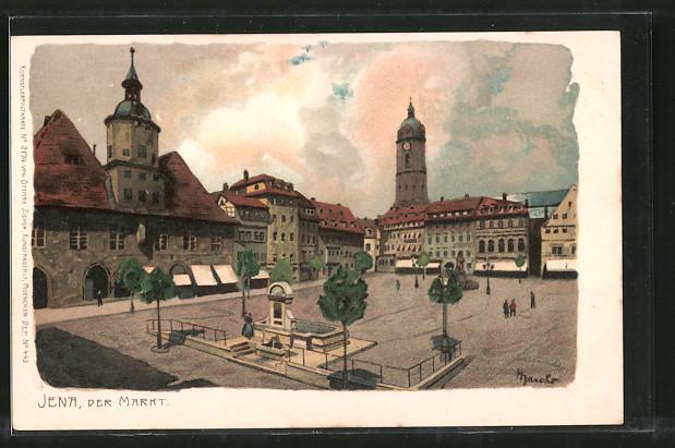 Künstler-Lithographie Alexander Marcks: Jena, Blick auf den Markt