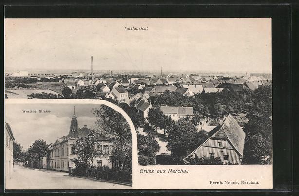 AK Nerchau, Wurzener Strasse, Totalansicht vom Ort