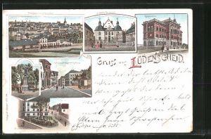 Lithographie Lüdenscheid, Wilhelmstrasse mit Rathaus, Gymnasium, Schloss Neuenhof