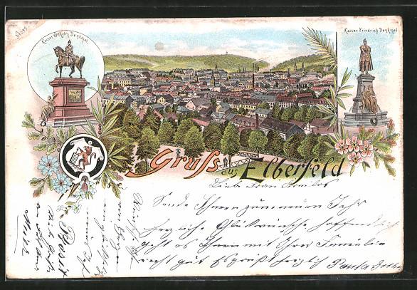 Lithographie Elberfeld, Kaiser Wilhelm I.-Denkmal, Kaiser Friedrich-Denkmal, Stadtpanorama, Wappen