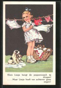 AK Klein Liesje hangt de poppenwasch te drogen!..., Mädchen hängt Wäsche auf