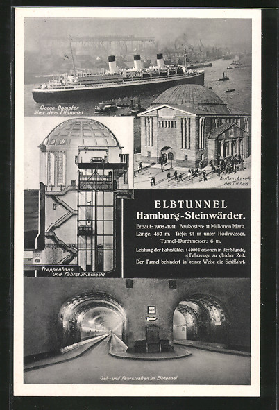 AK Hamburg-St. Pauli, Elbtunnel, Ocean-Dampfer, Treppenhaus und Fahrstuhl, Geh- und Fahrstrassen