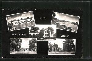 AK Linne, Stuw in de Maas, Grote straat, Gezicht op de Maas