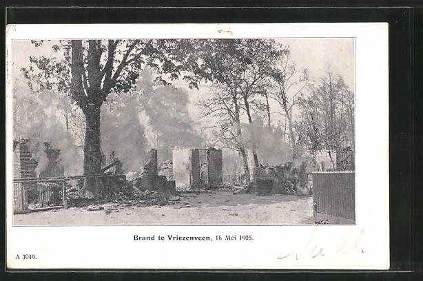 AK Vriezenveen, Brand 1905, Trümmer eines Hauses