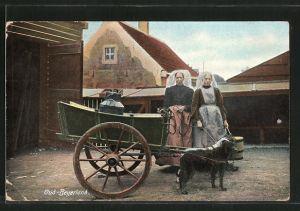 AK Oud-Beyerland, Frauen in Tracht mit Hundegespann