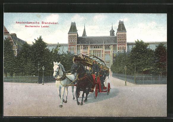 AK Amsterdam, Brandweer, Mechanische Ladder, Leiterwagen der Feuerwehr, Pferdegespann