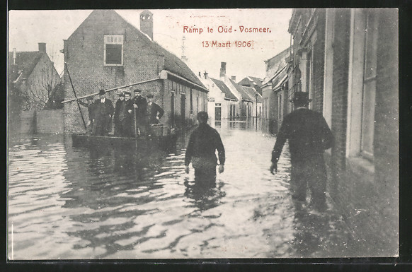 AK Ramp te Oud-Vossemeer, 13 Maart 1906, Strassenpartie während Hochwasser