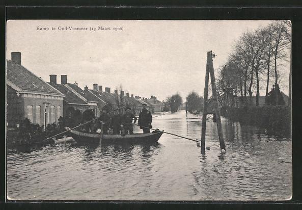 AK Ramp te Oud-Vossemeer, 13 Maart 1906, Partie während Hochwasser
