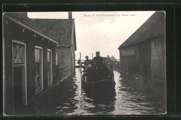 AK Ramp te Oud-Vossemeer, 13 Maart 1906, Bootspartie bei Hochwasser