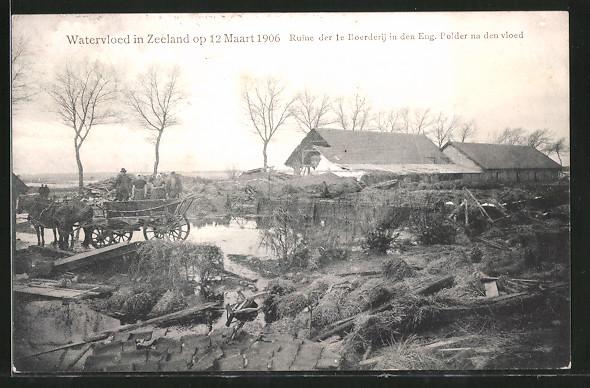AK Watervloed in Zeeland op 12 Maart 1906, Ruine de 1e Boerderij in den Eng. Polder na den vloed, Hochwasserschäden
