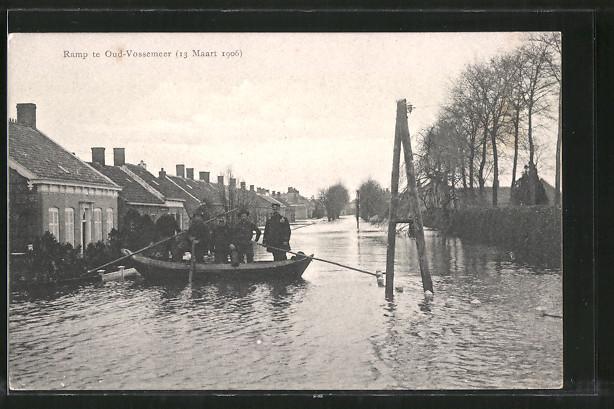 AK Ramp te Oud-Vossemeer, 13 Maart 1906, Partie bei Hochwasser