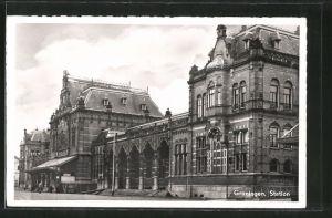 AK Groningen, Station, Vorderansicht vom Bahnhof
