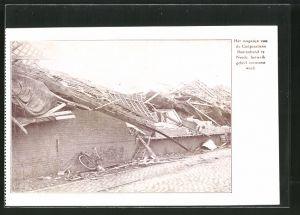 AK Neede, Het magazijn van de Coöperatieve Boerenbond te Neede hetwelk geheel verwoest werd, Unwetter