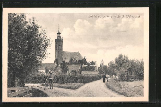 AK Burgh, Gezicht op de Kerk, Strassenpartie mit Blick zur Kirche