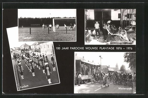 AK Wouwse Plantage, 100 Jaar Parochie Wouwse Plantage 1876-1976, Voetbal, Fanfare, Wielerronde, Kindervakantiewerk