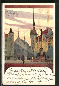 Künstler-Lithographie Heinrich Kley: München, Marienplatz