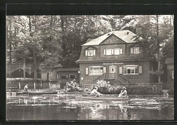 AK Glauchau, Gasthof Gründelhaus am Gründelteich, Ruderboot