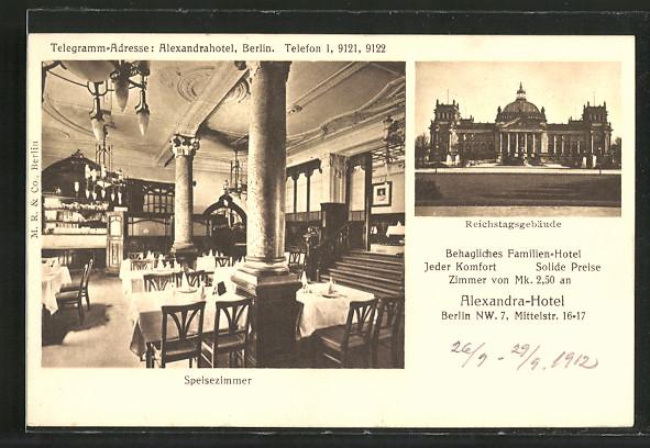Ak Berlin Alexandra Hotel Mittelstrasse 16 17 Speisezimmer