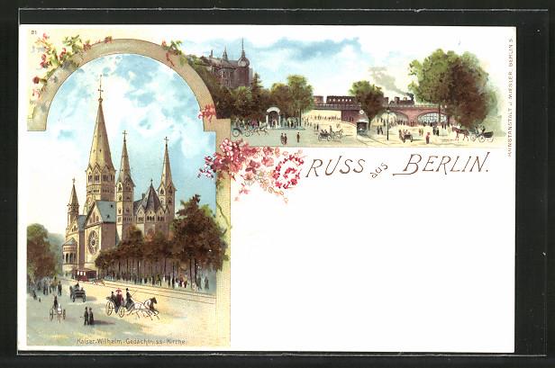 Lithographie Berlin-Charlottenburg, Kaiser Wilhelm-Gedächtnis-Kirche
