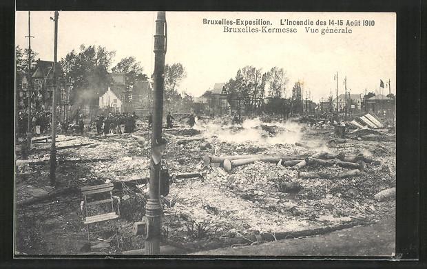 AK Bruxelles, Exposition de Bruxelles, l'incendie des 1910, vue générale