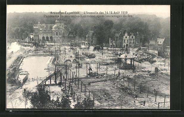 AK Bruxelles, Exposition de Bruxelles 1910, l'incendie des 1910, panorama de Bruxelles-Kermesse