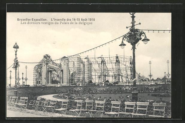 AK Bruxelles, Exposition de Bruxelles 1910, l'incendie des 1910, les derniers vestiges du palais de la Belgique