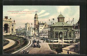 AK Bruxelles, Exposition de Bruxelles 1910, le côté est du jardin de Bruxelles