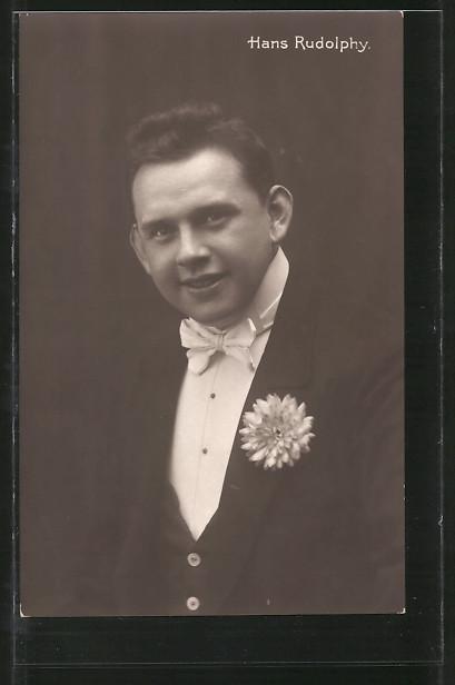 AK Schauspieler Hans Rudolphy im Frack porträtiert
