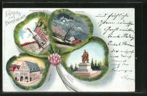 Passepartout-Lithographie Dortmund, Kriegerdenkmal, Rathaus, Vehmlinde im Kleeblatt