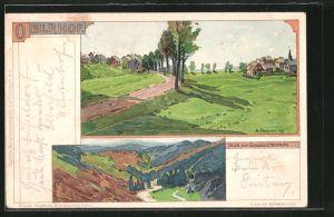 Künstler-AK Albert Stagura: Oberhof, Blick vom Grossvaterstuhl, Teilansicht des Ortes