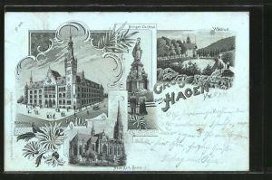 Mondschein-Lithographie Hagen, Rathaus, Krieger-Denkmal, Waldlust