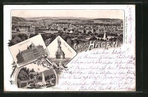 Lithographie Hagen, Gewerbeschule, Krieger-Denkmal, Waldlust