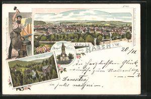 Lithographie Hagen, Krieger-Denkmal, Waldlust, Panorama