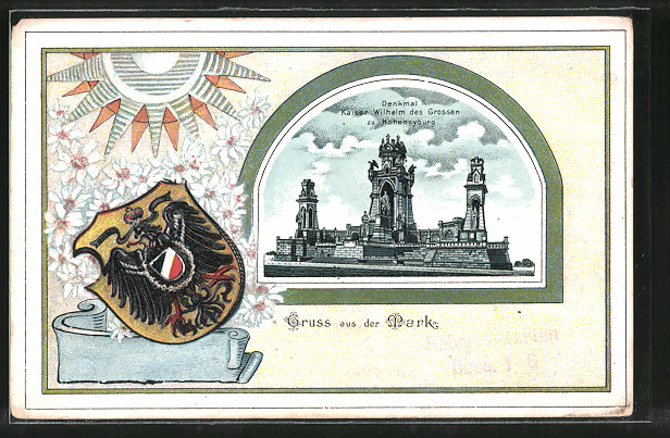 Passepartout-Lithographie Dortmund, Denkmal Kaiser Wilhelm des Grossen, Wappen