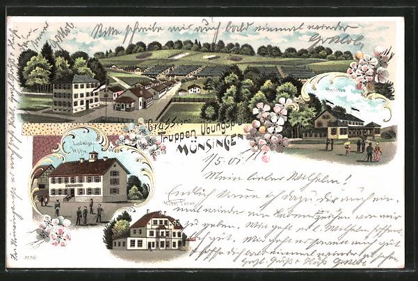 Lithographie Münsingen, Baracken am Truppenübungsplatz, Hotel Fezer, Ludwigs-Höhe & Casino
