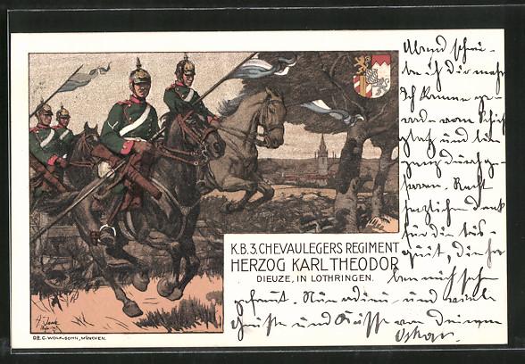 Künstler-AK Angelo Jank: K. B. 3. Chevaulegers Regiment Herzog Karl Theodor Dieuze, in Lothringen