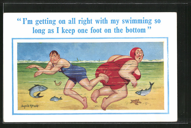 Künstler-AK Donald McGill: I'm getting on all right with my swimming..., Dicke Schwimmerin, Humor