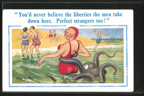 Künstler-AK Donald McGill: You'd never believe the liberties the men make down here..., Schwimmerin und Tintenfisch