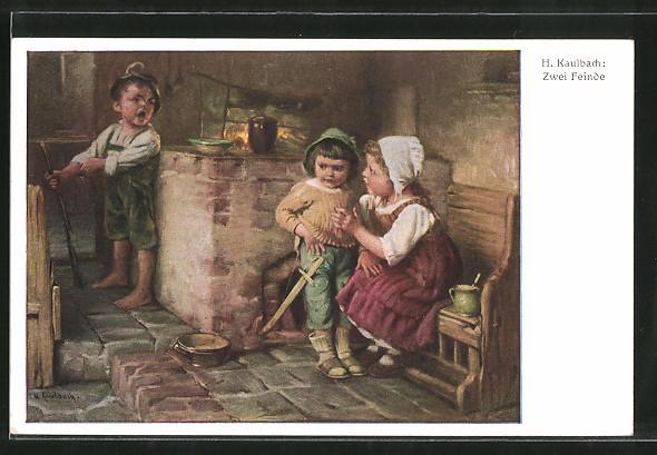 Künstler-AK Hermann Kaulbach: Zwei Feinde, Kinder