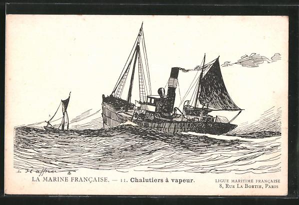 Künstler-AK La Marine Francaise, Chalutiers à vapeur, Trawler