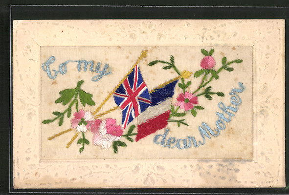 Seidenstick-AK To my dear Mother, Fahnen der Entente