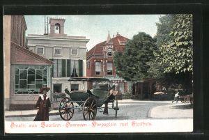 AK Overveen, Omstr: van Haarlem-Overveen-Dorpsplein met Stadthuis, Ortspartie mit Kutsche