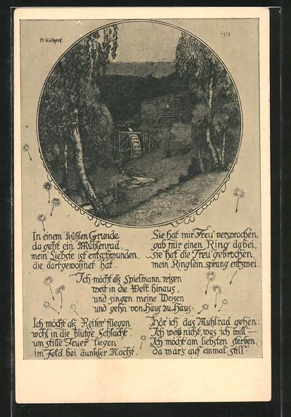 Künstler-AK Blick auf die Wassermühle, mit Gedicht