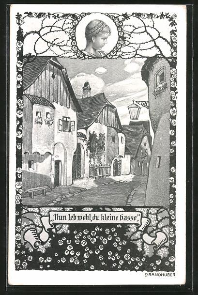 Künstler-AK sign. Otto Brandhuber: Blick in eine kleine Gasse